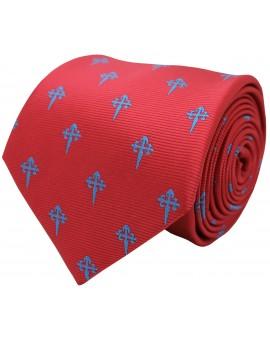 Corbata cruz de santiago para camisa roja y cruz azul