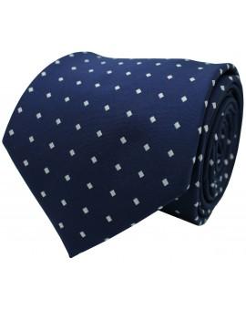 Corbata lisa azul con cuadritos en blanco