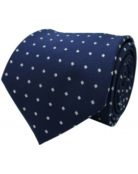Navy blue tie with printed squares in white colour
