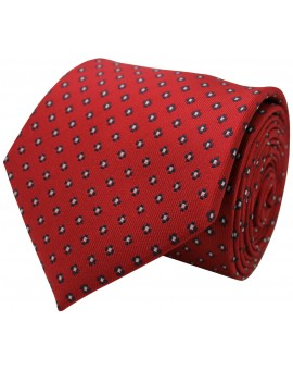 Red tie with printed flowers in navy blue and white