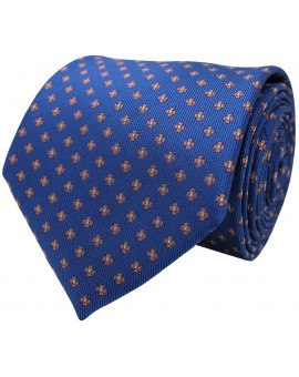 Blue tie with printed flowers
