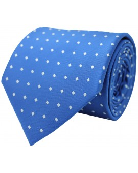 Blue tie with printed squares in white colour