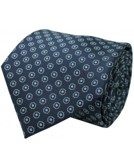 Navy blue tie with printed geometric figures