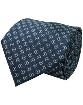 Navy blue tie with printed geometric figures