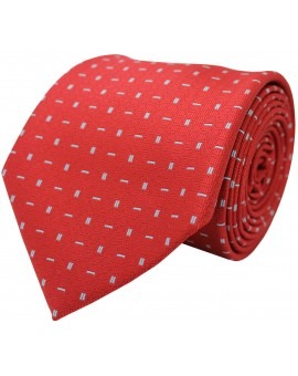 Red tie with printed geometric figures