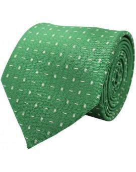 Corbata verde con estampado geométrico de rayas