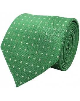 Green tie with printed geometric figures