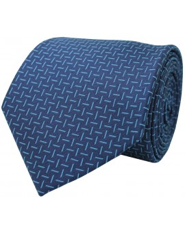 Blue tie with printed stripes in light blue colour