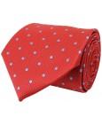 Corbata roja con estampado de topos en azul claro