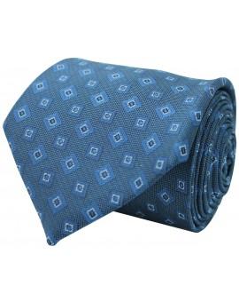 Corbata azul con estampado geométrico