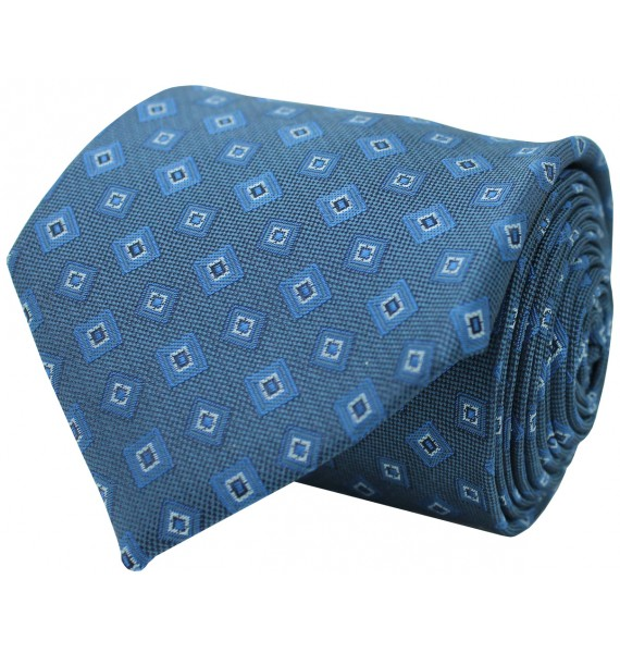 Blue tie with printed geometric figures