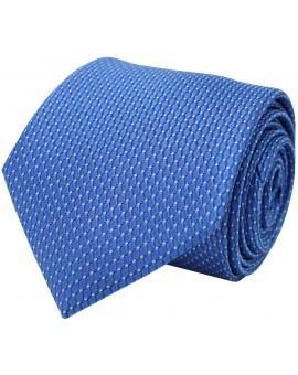 Corbata azul de seda con estampado de rombos